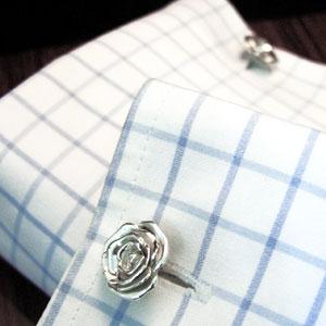 シルバー製 薔薇カフスボタン rose cufflinks silver